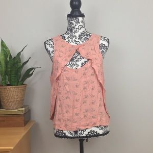 Free People girly frilly pink printed tank blouse